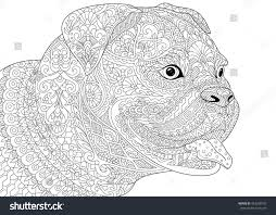 coloring page german boxer dog symbol stock vector 443038102