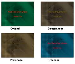 types of green color slides for color blind audiences in powerpoint