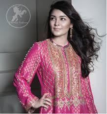 coral pink aline shirt with silver shiny sharara