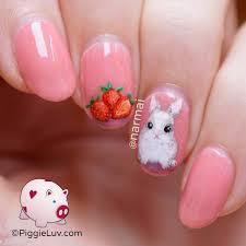 piggieluv freehand strawberry bunny nail art