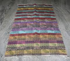 Rag Rug Runner Vintage Rag Rug Hand Woven Runner Chindi Carpet Throw Dhurrie