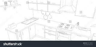 modern corner kitchen sketch modern corner kitchen 3d outline stock illustration