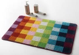 Modern Bath Rugs Colorful Grid Door Mat Bath Rug Non Slip Rugs Da7183b Wholesale