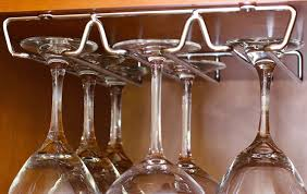 amazon com decobros 2pk single rail wine glass stemware rack