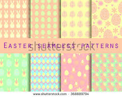 easter set seamless patterns easter bunny stock vector 368889794