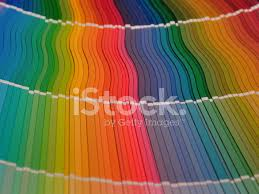 full rainbow of paint color chart fan deck stock photos
