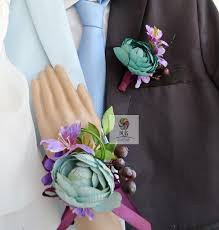 blue boutonniere aliexpress buy purple with blue artificial flower wedding