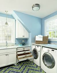 Drying Racks For Laundry Room - drying rack laundry room transitional with blue green floor tile