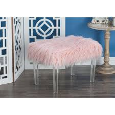 Pink Fur Chair 17 In X 26 In Wood And Acrylic Pink Fur Foot Stool 33008 The