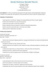 Example Warehouse Resume Warehouse Specialist Resume Haadyaooverbayresort Com