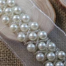 5 yards white lace pearl beaded trim ribbon for sewing wedding