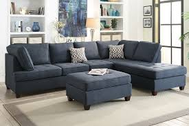 microfiber sectional with ottoman dark blue tufted dorris fabric sofa sectional w ottoman