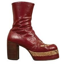 mens burgundy leather platform boots with snakeskin c 1970 at