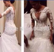 custom made wedding dress illusion v neck lace wedding dresses mermaid 2015 sheer