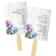 purple wedding programs purple blue hydrangeas barn wood wedding program fan template