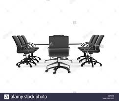Office Table Front View Conference Table And Black Office Chairs Front View Isolated