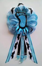 corsage de baby shower mustache theme baby shower corsage with baby footprint