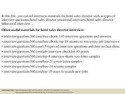 top 10 hotel sales director interview questions and answers