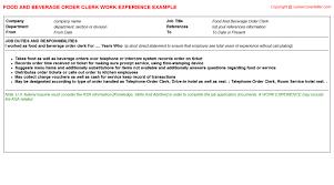 Order Resume Food And Beverage Order Clerk Cv Work Experience