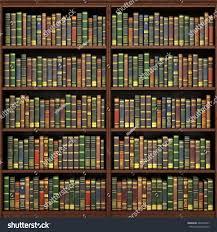 bookshelf full books background old library stock illustration