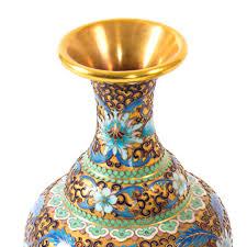 Enamel Vase Vases Pair Of Early 20th Century Chinese Cloisonne Enamel Vases