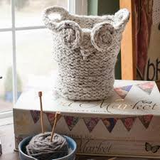 loom knit owl basket pattern yarn basket catch all basket