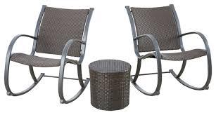 Outdoor Patio Rocking Chairs Leann Outdoor 3 Piece Dark Brown Rocking Chair Chat Set
