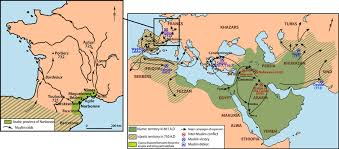 arab map map of the arab empire extension and zoom on the septimania and the