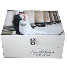 wedding keepsake box wedding memory box with photo and monogram