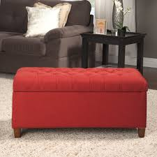 Red Tufted Bench Homepop Cranberry Red Linen Tufted Storage Bench Free Shipping