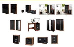 Black High Gloss Bedroom Furniture by High Gloss Bedroom Furniture Range Wardrobe Chest Bedside Black