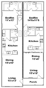 duplex floor plans for narrow lots one bedroom duplex plan j0814 12d plansource inc