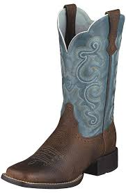 womens boots blue ariat s quickdraw performance cowboy boots brown