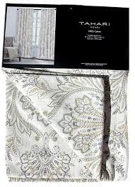 new tahari grey gray tan gold taupe paisley medallion window