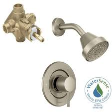 double handle the home depot align single handle 1 spray shower faucet trim kit with valve in brushed