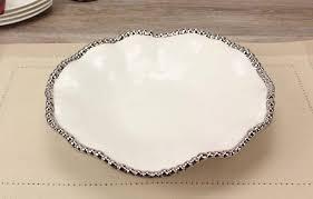 ceramic serving platters ceramic beaded white serving platter timeless table