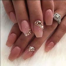 imagenes de uñas acrilicas con pedreria uñas acrílico rosa claro con pedrería uñas pinterest uñas