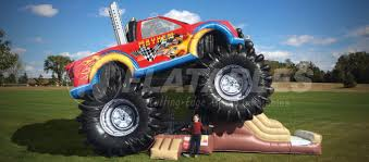 monster truck crash videos monster truck bounce house combo