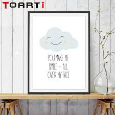 nordic you make me smile cartoon cloud art print poster wall nordic you make me smile cartoon cloud art print poster wall pictures for living room canvas painting no framed home decor in painting calligraphy from