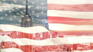 Waving Flag Artist Empire State Building And American Flag Overlay Composition