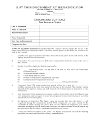 Proof Of Employment Template Security Guard Employment Contract Legal Forms And Business