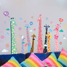 colorful giraffes wall stickers animals boys room wall decals