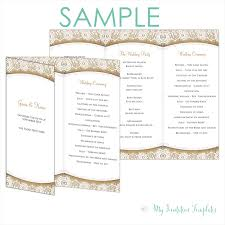 tri fold program rustic program template burlap and lace trifold free sample
