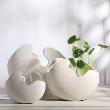egg shell shape plain porcelain vase ornament ceramic