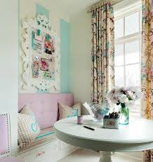 Pink Craft Room - white and blue vertical striped craft room walls eclectic den