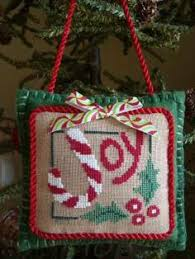 finished completed cross stitch ornament snowy cross
