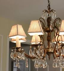 wonderful lamp shade chandelier in the dining room with large