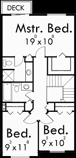 house plan for narrow lot narrow lot house plan small 20 wide 9920 waterfront home plans