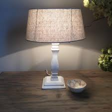 small white washed distressed wood table lamp base u2013 cowshed interiors