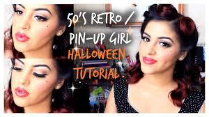 50s retro pin up halloween makeup tutorial youtube